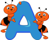 Alphabet A with ant cartoon