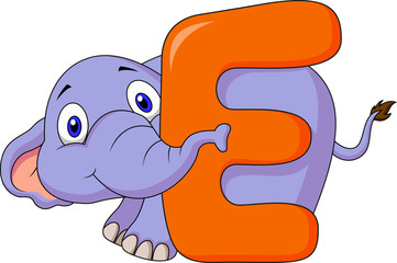 Alphabet E with elephant cartoon