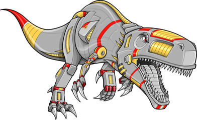 Robot Tyrannosaurus Rex Dinosaur Vector Illustration