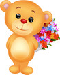 Cute bear holding flower bucket