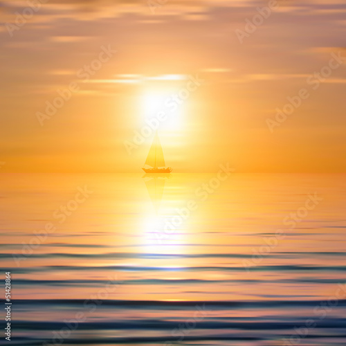 Abstract background with sea sunrise and yacht