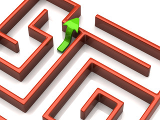 Green arrow and maze