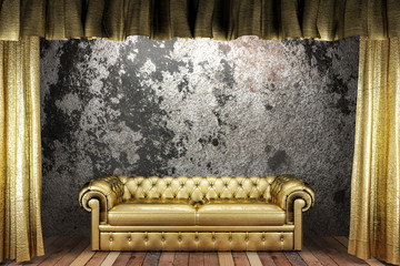 golden curtain with sofa