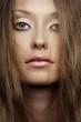 closeup woman face portrait