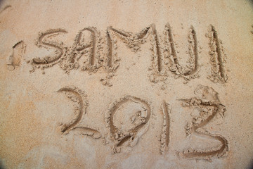 Hand written text on samui beach