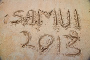 Hand written text on samui beach