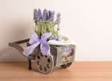 Interior decoration, decorative wooden cart with Lavender.