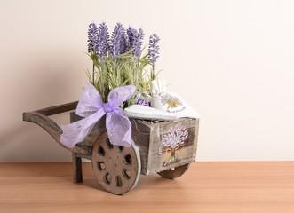 Interior decoration, decorative wooden cart with Lavender.