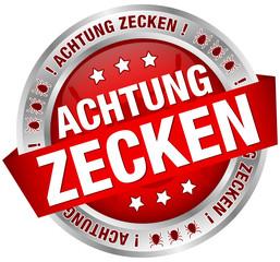 """Button Banner """"Achtung Zecken"""" rot/silber"""
