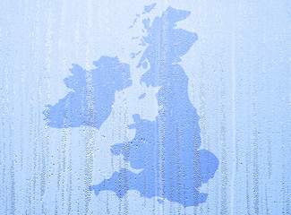 Water pattern over UK map