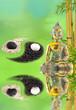 composition bouddha zen, bambou, yin yang