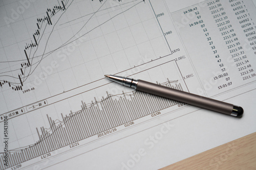 A pen on a printed K chart for the stock Index