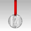 silver medal with number two on a red ribbon