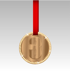 bronze medal with the number three on red tape