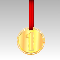 gold medal with number one on a red ribbon