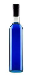 full bottle of blue alcoholic cocktail