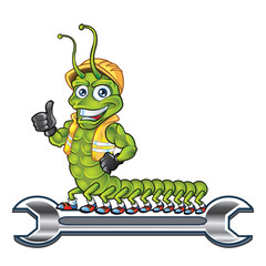 Centipede Mascot Thumb Up Standing on Wrench