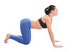 young yoga woman doing yogic exercise on isolated