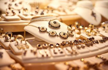 Showcase with jewelry.