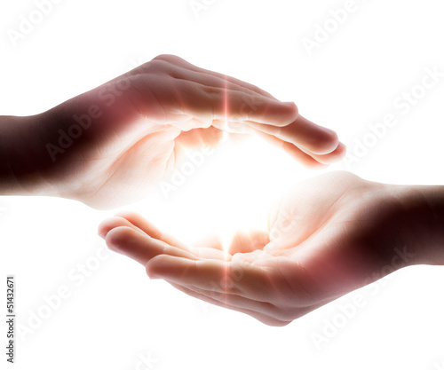 light in his hands