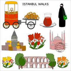 Istanbul walks.Set.