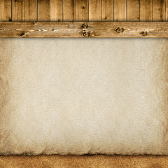 Template background - planks, handmade paper sheet and sand