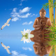 composition zen, bouddha, bambou, lotus