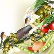 Background with realistic vector vegetables, onion, mushrooms, o