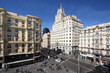 Telefonica building at Gran Via street at spring sunny day
