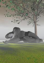 A gorilla which sleeps