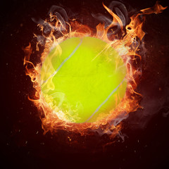 Hot tennis ball in fires flame
