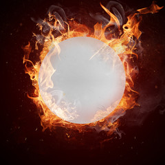 Hot ping-pong ball in fires flame