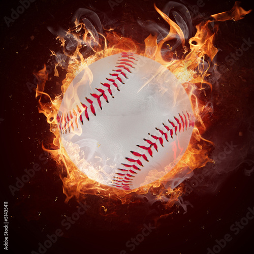 Hot baseball ball in fires flame