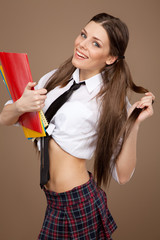 Woman in a schoolgirl costume