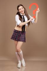 Woman in a schoolgirl costume