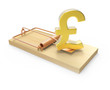 Gold UK Pound symbol on mousetrap