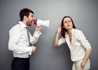 woman listening her angry boss