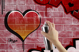 Heart graffiti on red brick wall - 51438064
