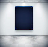 Room with black glass placeholder poster