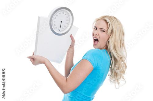 Junge wütende Frau isoliert - Diät