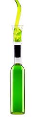 full bottle of green alcoholic cocktail