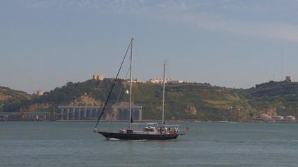 Vintage sailboat sailing
