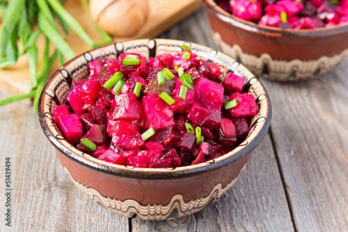 Russian cuisine: beetroot salad