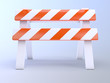Orange striped roadworks barrier