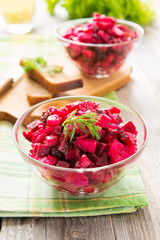 Salad from boiled beetroot and potato