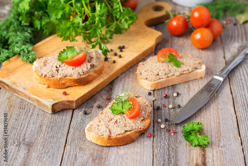 Sandwiches with homemade pate