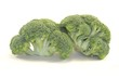 Two pieces of  fresh broccoli isolated on white