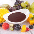 chocolate sauce and fruits