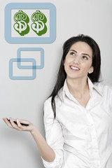 Woman holding out her phone displaying dollar sign