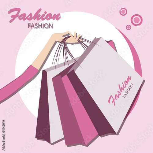 Shopping bags.  Young fashionable woman.